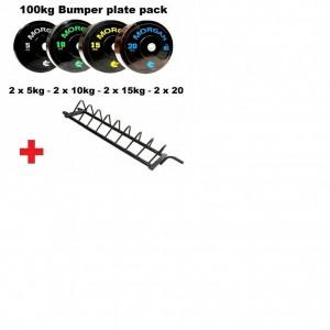 MORGAN 100KG BUMPER PLATE PACK + STORAGE TROLLEY