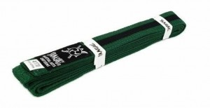 YAMASAKI COLOURED MARTIAL ARTS BELTS (GREEN WITH BLACK STRIPE)