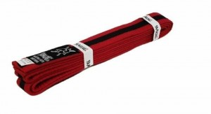 YAMASAKI COLOURED MARTIAL ARTS BELTS (RED WITH BLACK STRIPE)