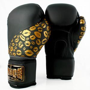 Womens Boxing Gloves - Gold Lip Art
