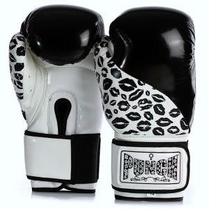 Womens Boxing Gloves - Lip Art - Black